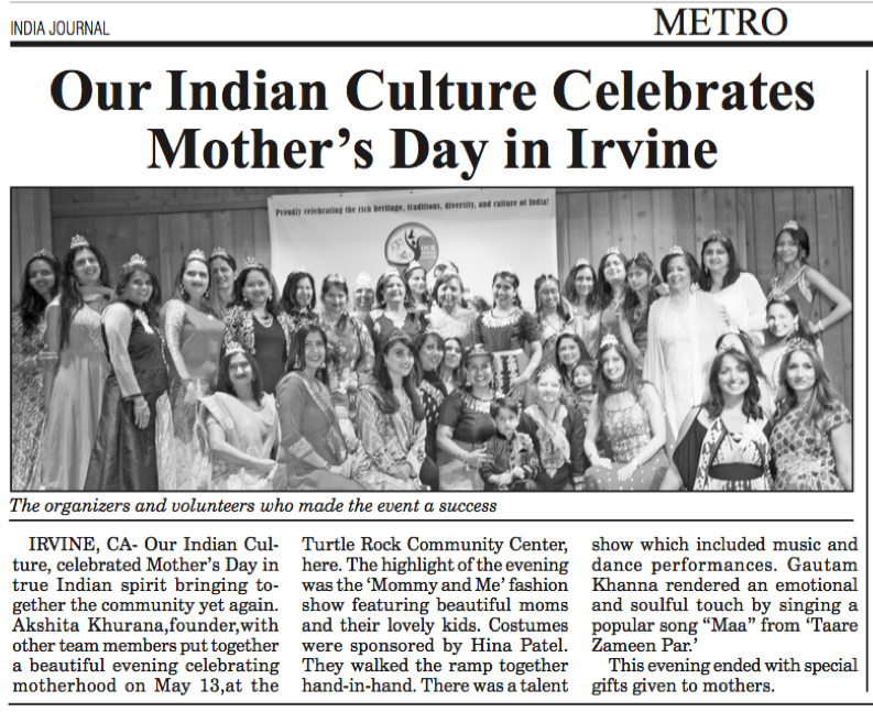 OurIndianCulture.com_Event_Coverage_By_India_journal_Newspaper