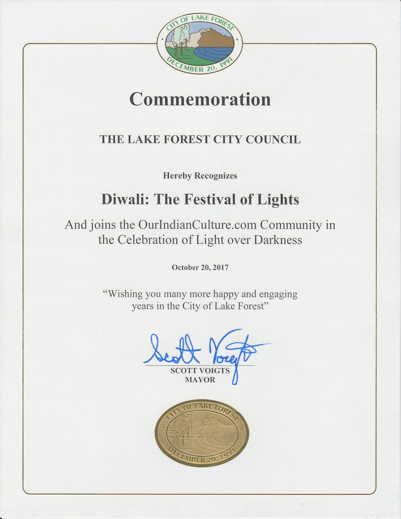OurIndianCulture Recognition By Lake Forest City Mayor For Diwali Celebration 2017