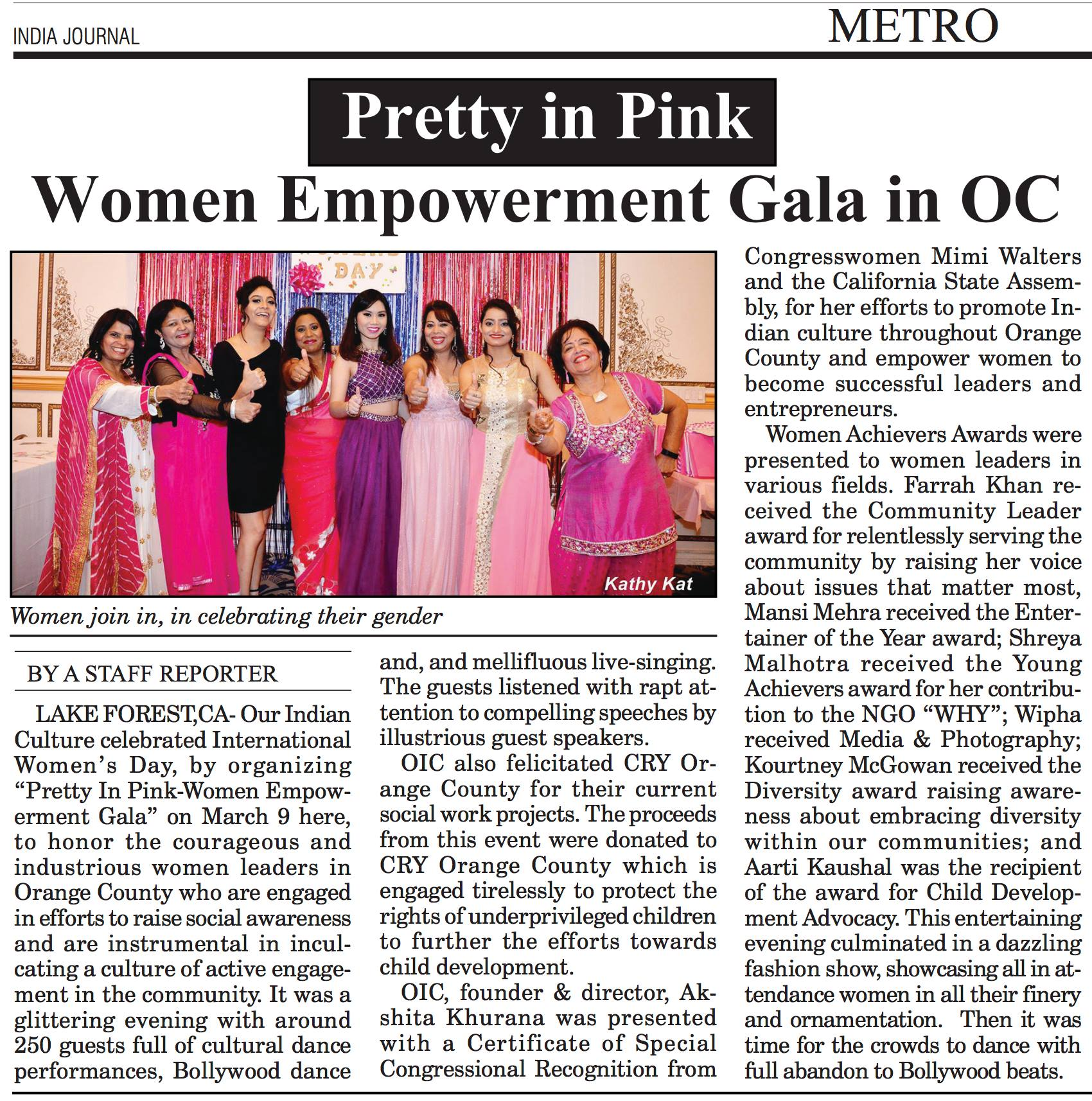 Pretty In Pink Women Empowerment Gala 2018 Organized By Our Indian Culture