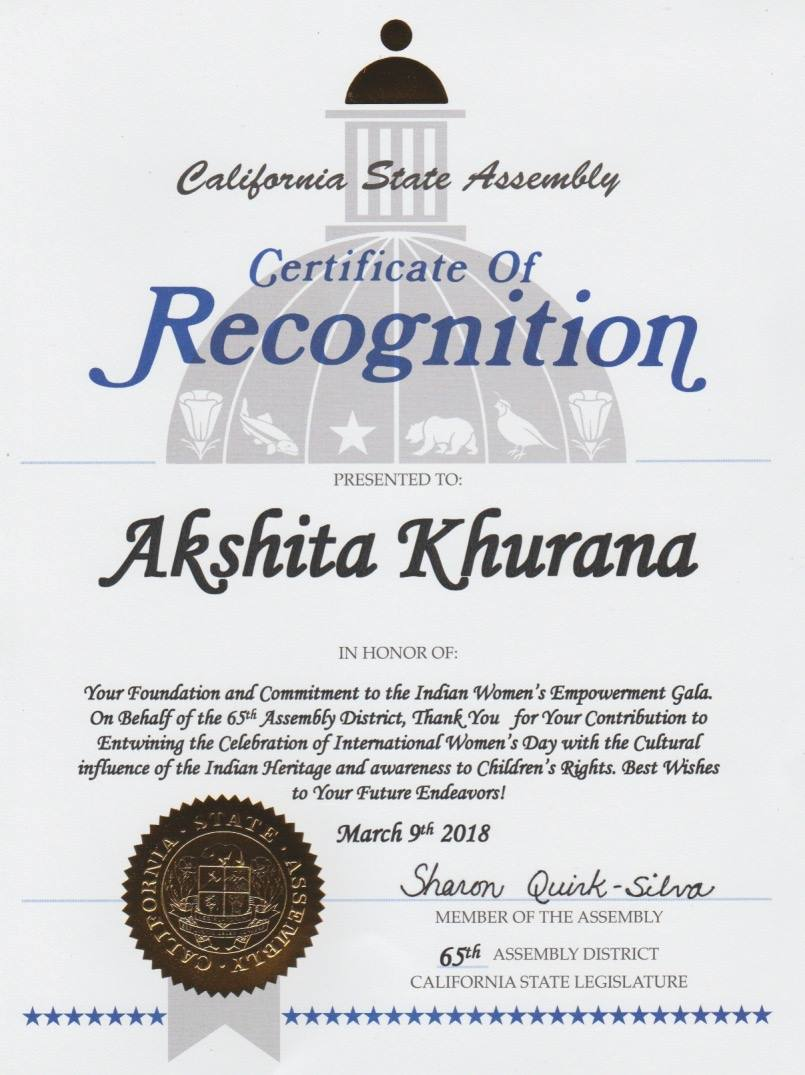 Special Recognition of OurIndianCulture Director Akshita Khurana By California State Assembly