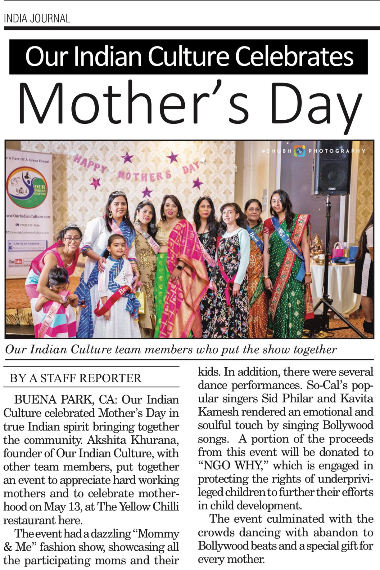 Mother's Day Celebration Event 2018 organized by Our Indian Culture in Buena Park, CA at The Yellow Chilli