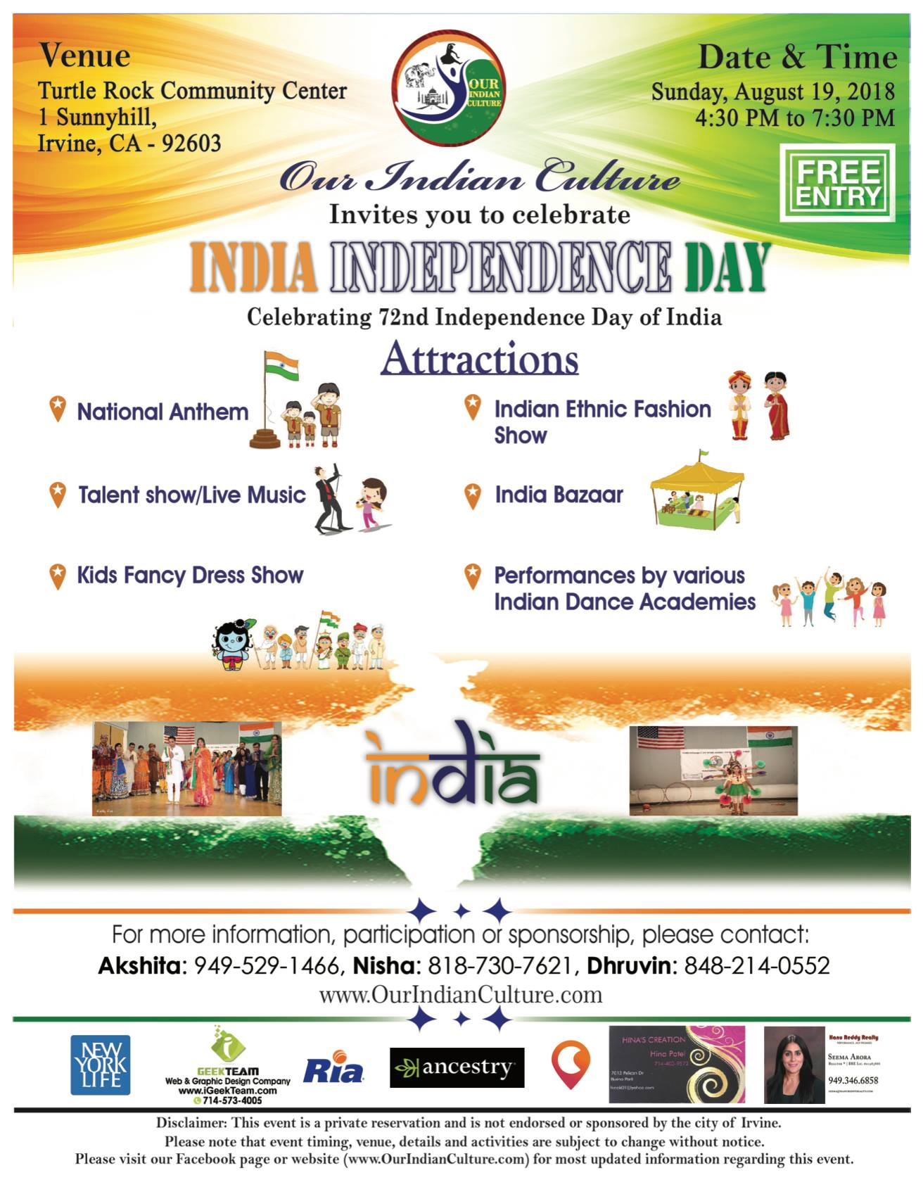 72nd Independence Day of India Celebration by OurIndianCulture.com in Irvine, CA, USA