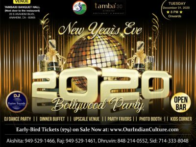 New Years Eve 2020 Bollywood Party in Anaheim