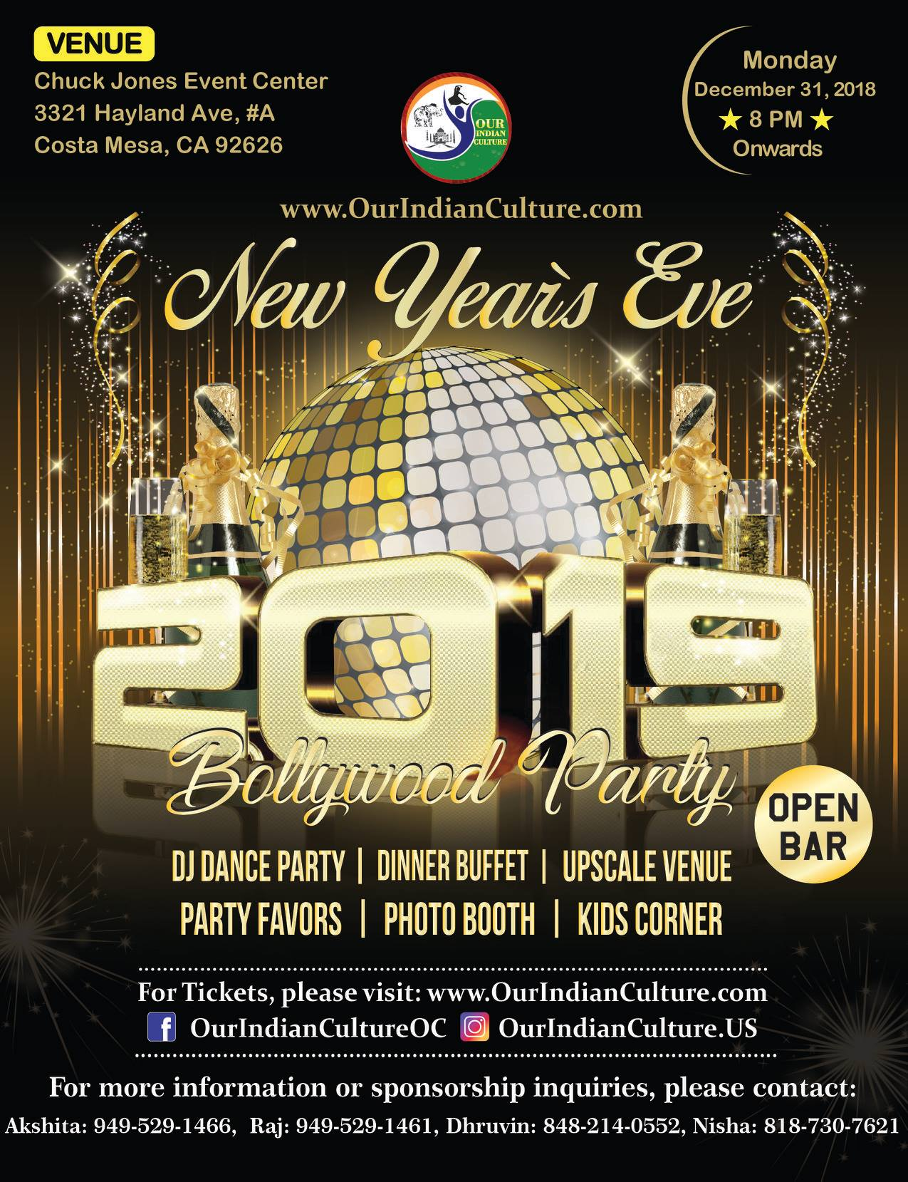 New Years Eve Bollywood Party in Costa Mesa Orange County