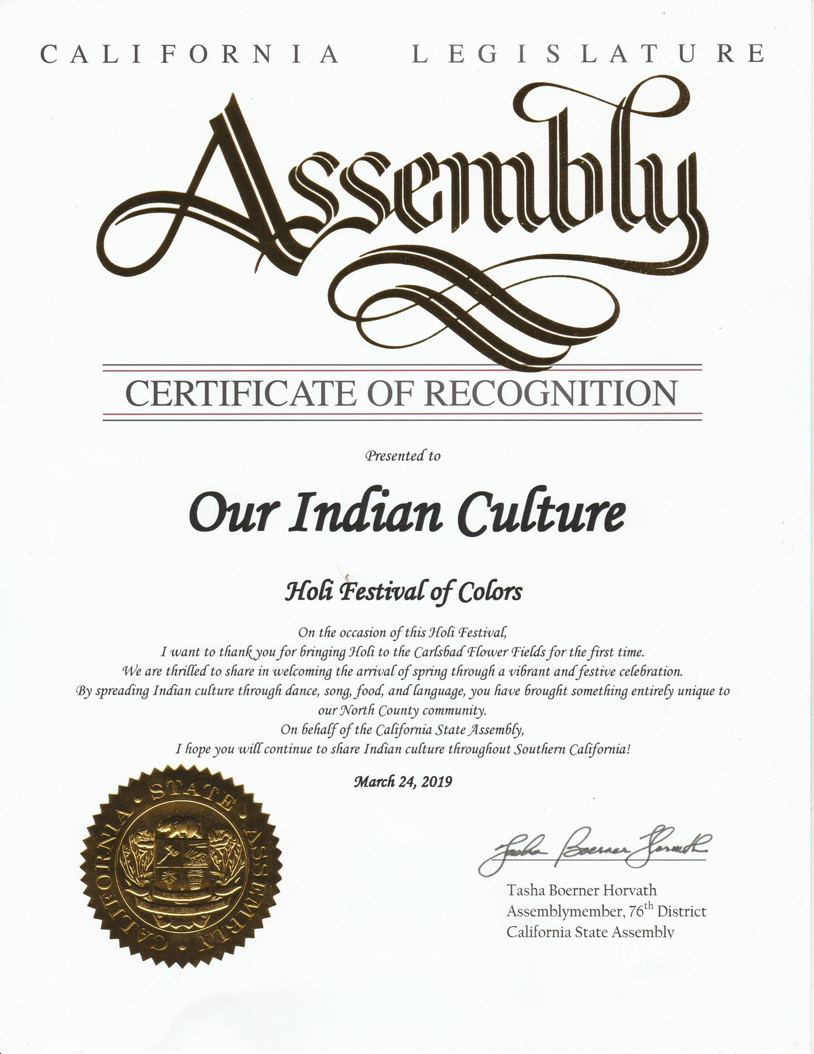 Our Indian Culture awarded by California state Legislature for HOLI Festival of colors at The Flower Fields Carlsbad