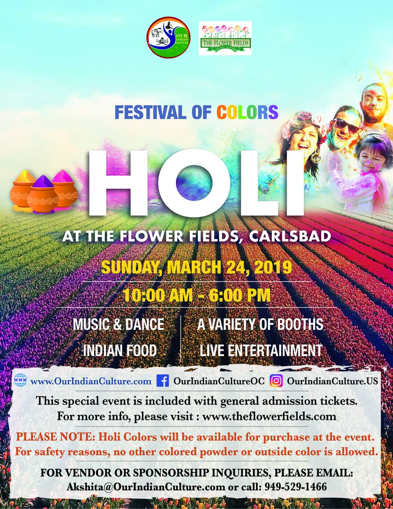 Festival of Colors - HOLI - March 24 2019 - Flower Fields Carlsbad
