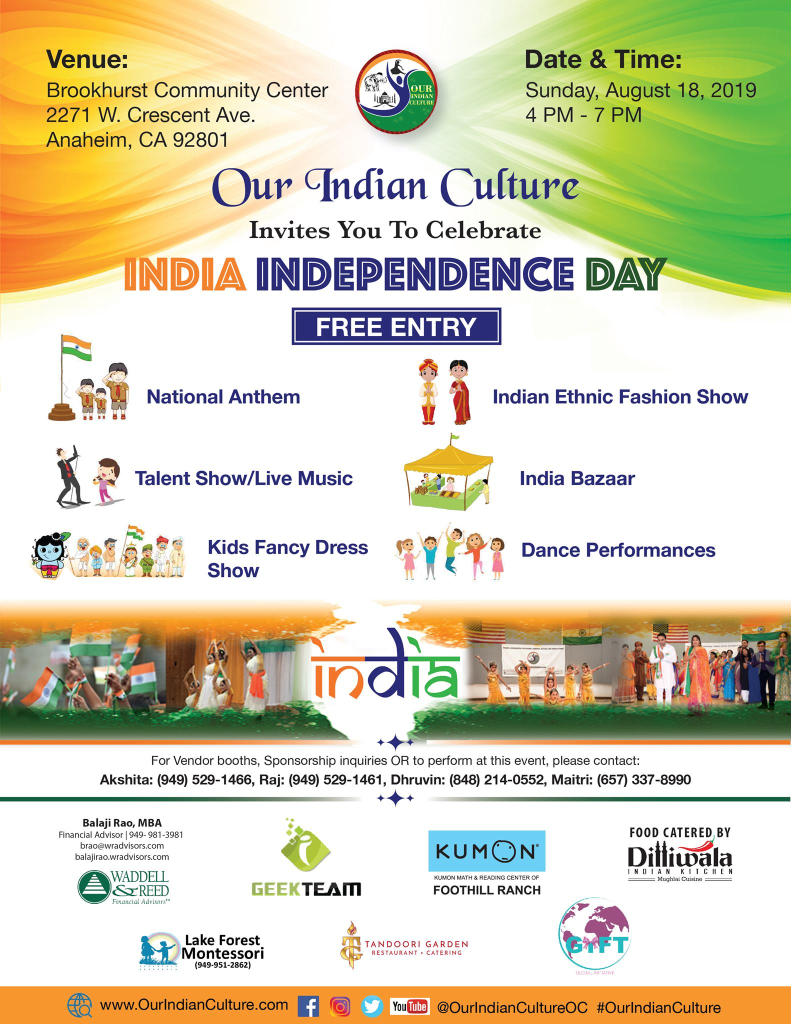 India Independence Day Celebration Event Anaheim August 18 2019
