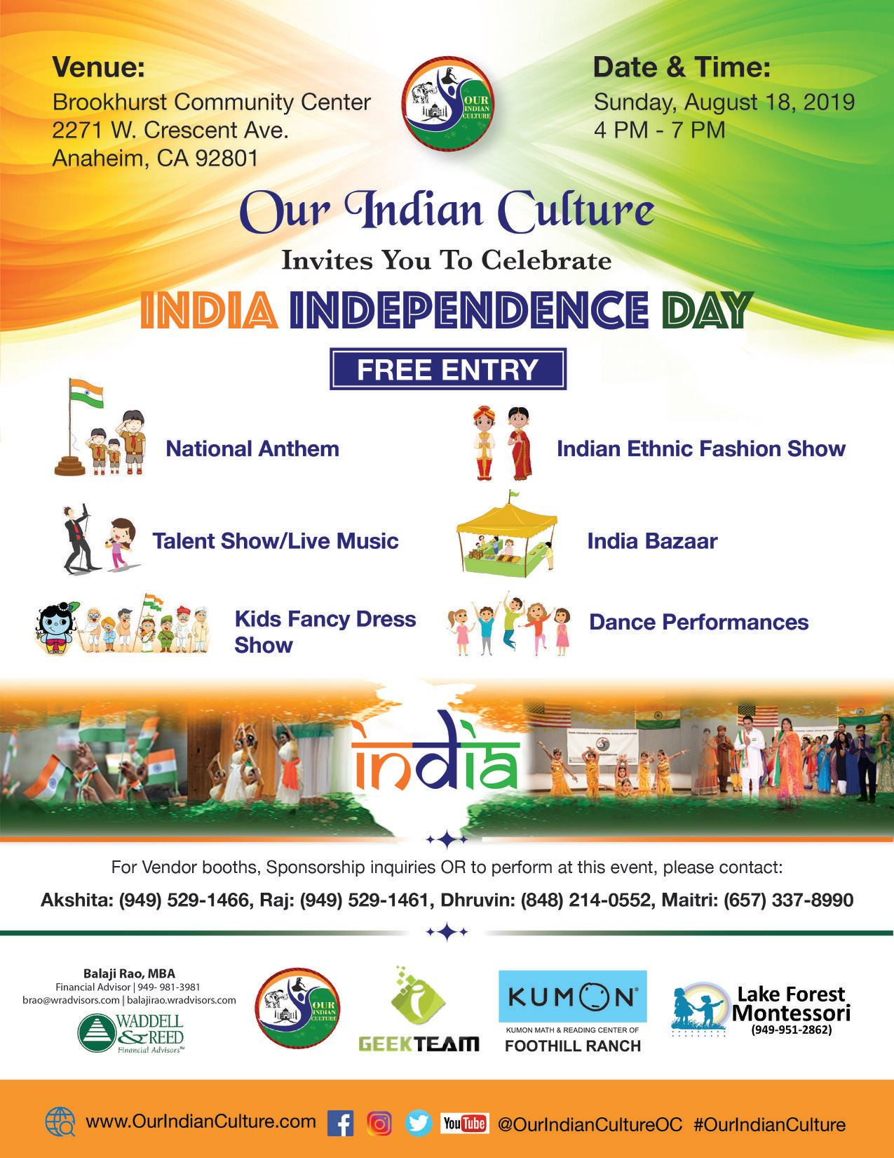 India Independence Day Celebration Event Anaheim