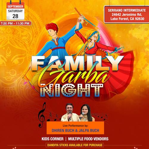 Family Garba Night in Lake Forest Orange County CA
