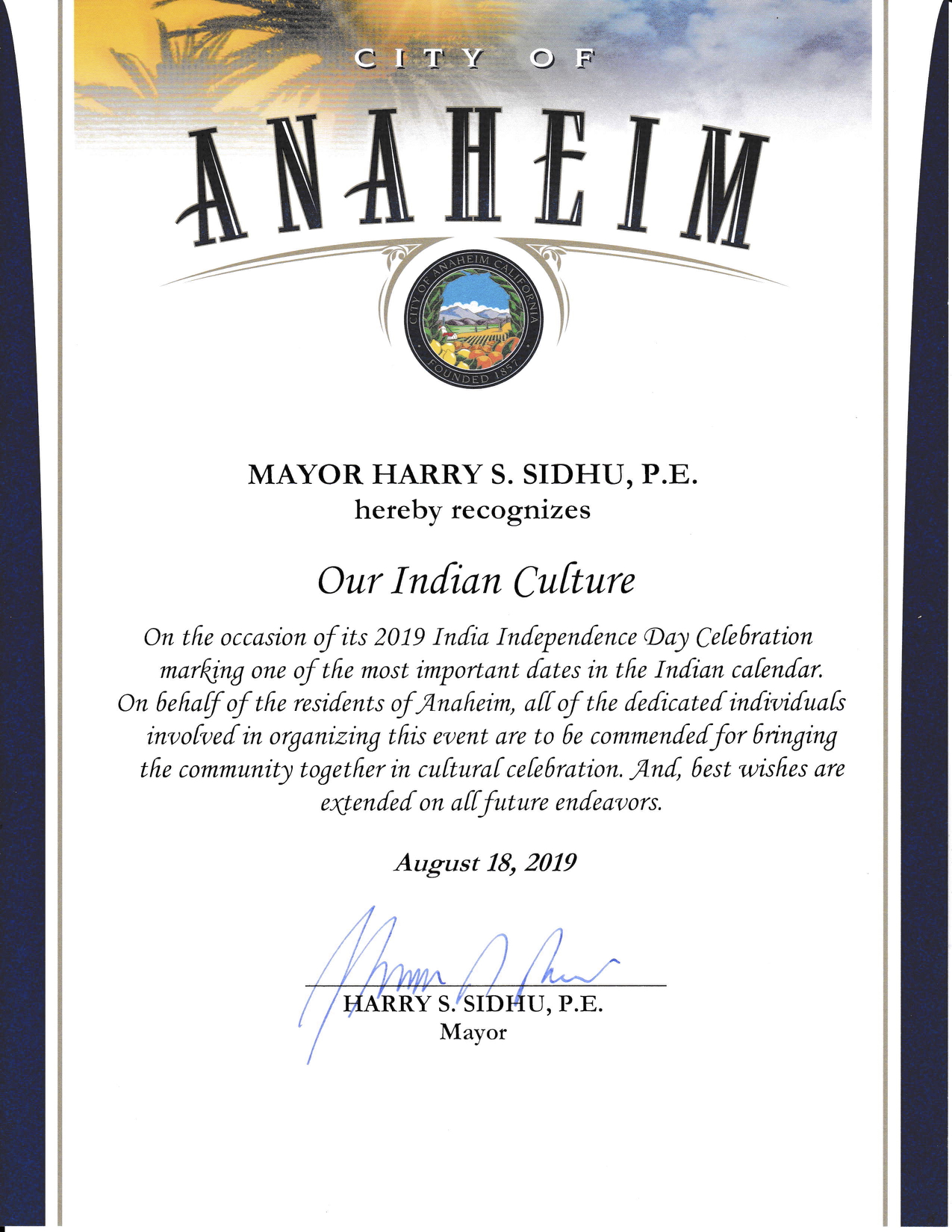 Anaheim City Mayor Harry Sidhu recognizes OurIndianCulture.com