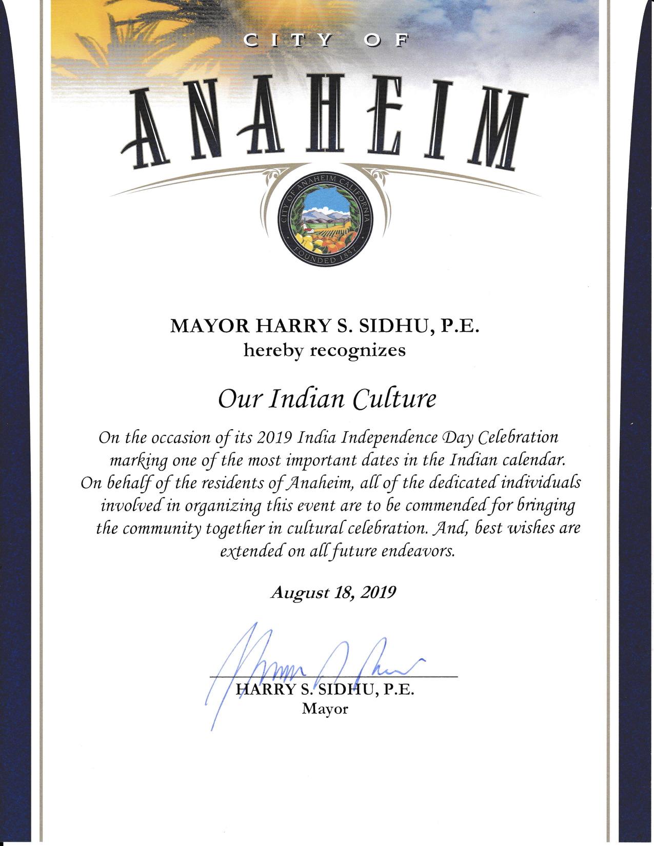 Anaheim City Mayor Harry Sidhu recognizes OurIndianCulture.com