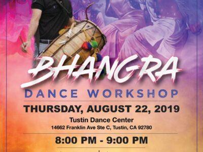 Bhangra Dance Workshop August 22 Tustin CA