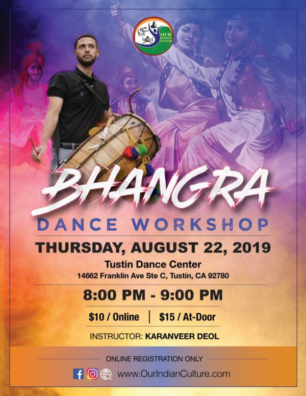 Bhangra Dance Workshop August 22 Tustin CA