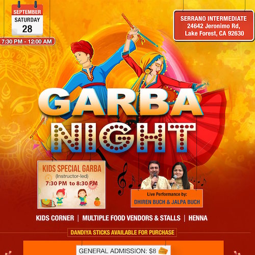 Garba Night September 28 2019 in Lake Forest