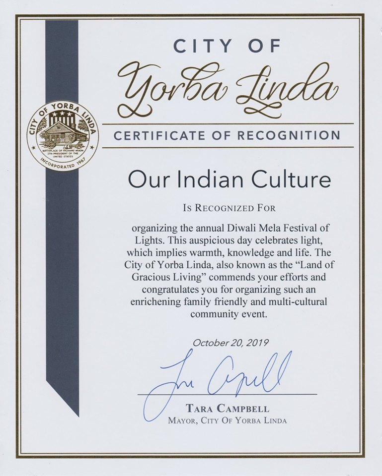 Yorba Linda City Mayor Tara Cambell Recognizes Our Indian Culture