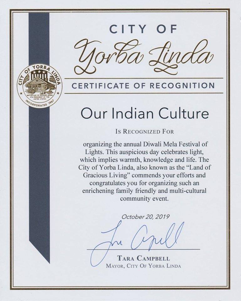 Yorba Linda City Mayor Tara Cambell Recognizes Our Indian Culture