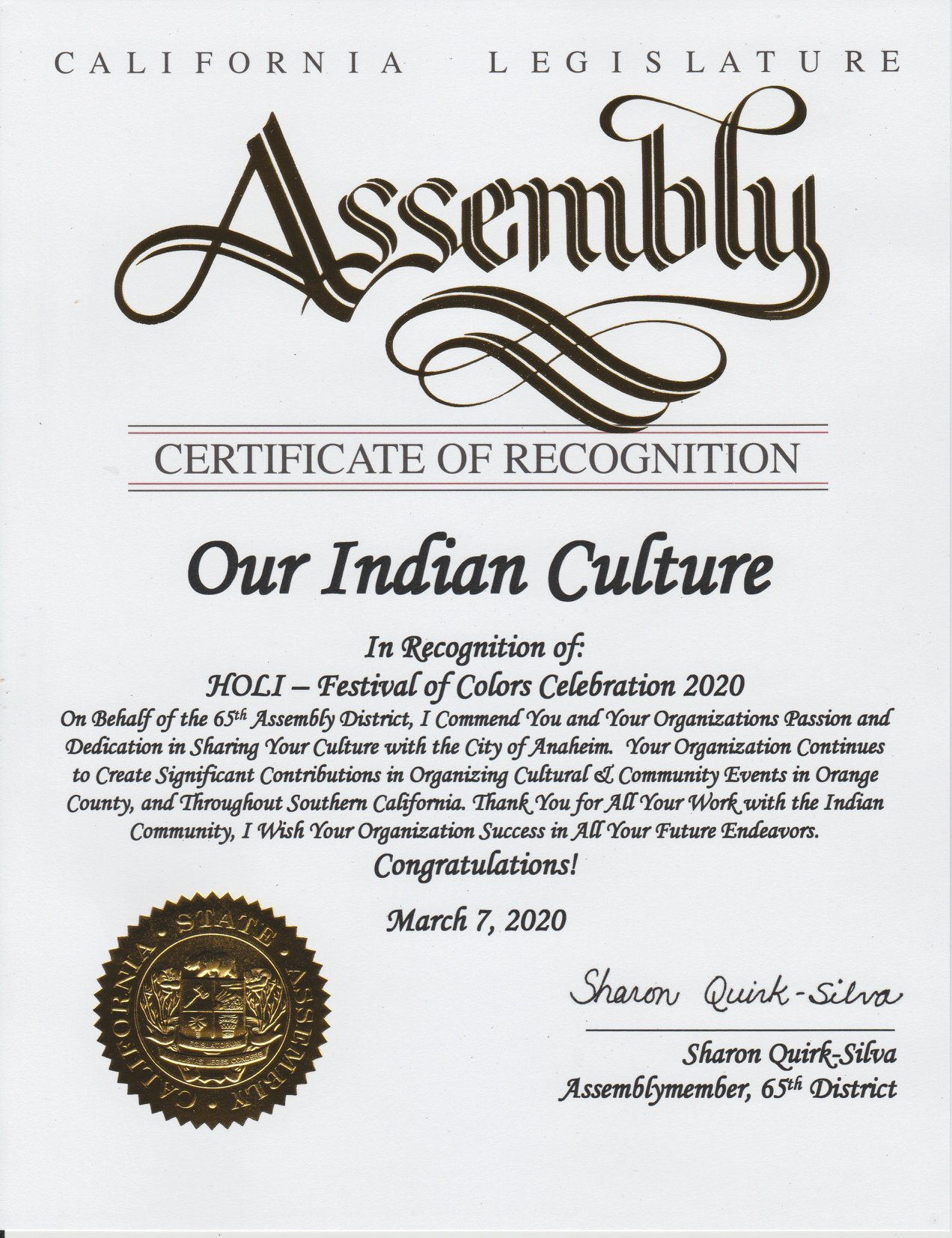 California Legislature Assembly recognition of Our Indian Culture by Sharon Quirk Silva Assembly member 65th District